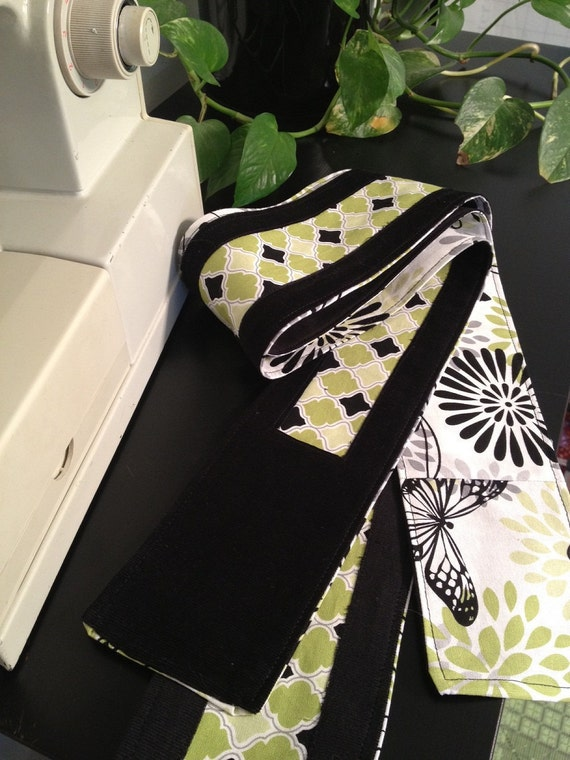 Skinny Scarf..Black and Green..Extra Long..Swirls and Butterflies