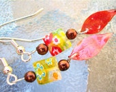 Dangle Earrings with Natural Leaf and Flower Bead