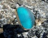 Genuine Turquoise sea glass ring