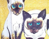 Vintage 1950's Siamese Cat Linen Kitchen Towel