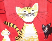 Vintage 1950s Smiling Cat Linen Tea Towel