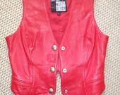 Free Shipping Womens Vintage Red North Beach Leather Vest