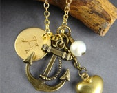 Anchor of Love Initial Necklace Pendant, Personalized Hand Stamped, Gold Heart, Long Necklace, Freshwater Pearl
