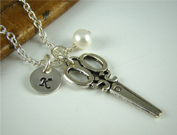 Gift Hair Stylist, Initial Scissor Charm Necklace, Scissors, Sew, Sewing, Cutting, Hair Dresser