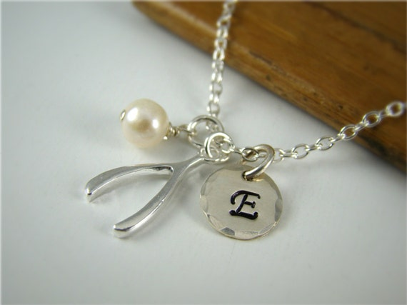 Personalized Initial Wishbone Pendant Necklace, Sterling Silver, Freshwater Pearl, Hand Stamped