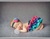 Black w/hot pink, purple, and turquoise ruffle bloomers diaper cover for baby newborn infant toddler girl