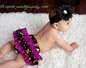 Halloween black print and purple polka dot ruffle bloomers diaper cover clip