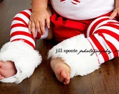 Christmas winter Baby Infant Girl red and white stripes leg warmers w/attached white faux fur for added cuteness
