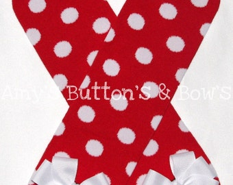 Red with white polka dots leg warmers w/attached white hair bows for added cuteness