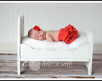 Red ruffle bloomers diaper cover for Newborn Baby Infant Toddler