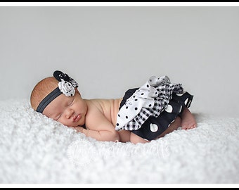 Black and white polka dot and checkered ruffle bloomers diaper cover Newborn Baby infant toddler girl