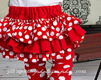 Red and white polka dot bloomers diaper cover for baby newborn infant toddler girl