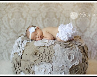 White ruffle bloomers diaper cover newborn baby infant toddler girl