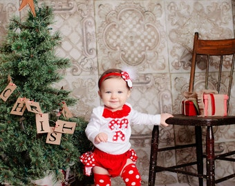 LONG SLEEVE Christmas white red polka dot candy cane bodysuit polka dot ruffle bloomers diaper cover w/fabric rolled rosette headband