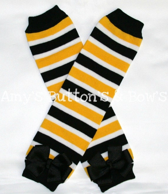 Steelers black yellow and white striped leg warmers w/attached black hair bows for added cuteness