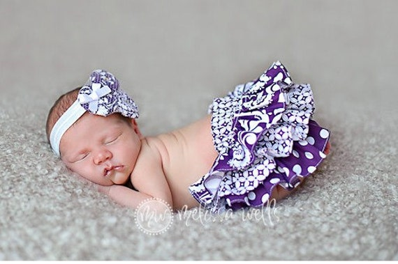 Newborn Baby Infant Toddler Girl purple and white polka dot and paisley print ruffle bloomers diaper cover