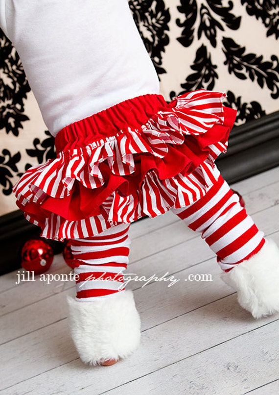 Red and white striped bloomers diaper cover for baby newborn infant toddler girl