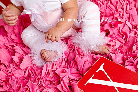 Baby Infant Toddler Newborn Girl pink and white stripes tutu leg warmers w/attached white fluff for added cuteness