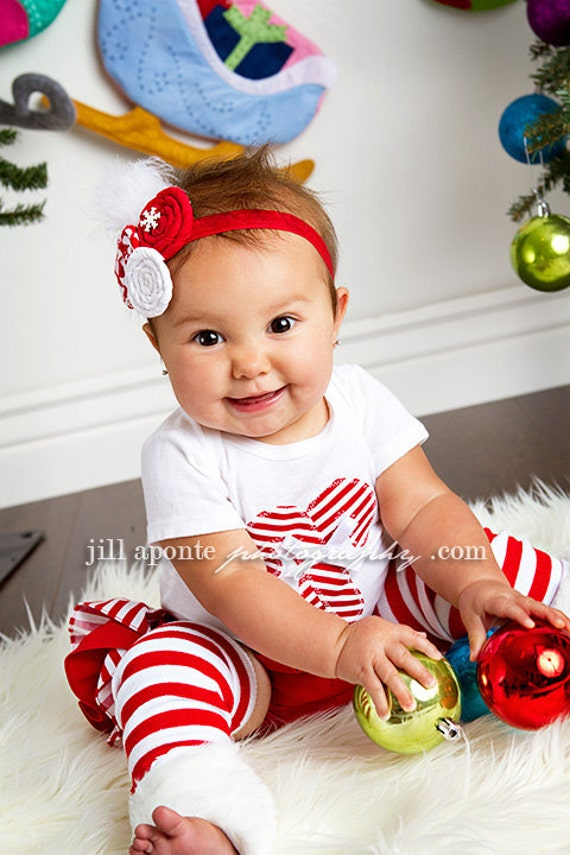 LONG SLEEVE Christmas white and red striped candy cane bodysuit striped ruffle bloomers diaper cover w/fabric rolled rosette headband