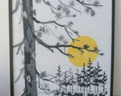 "Vintage Hand Embroidered Wall Art ""Twilight"" Black and Gray Forest with Yellow Moon in a Black Frame"
