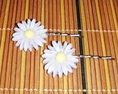 grey resin daisy on silver bobby pin , hair clips fun handmade hair clips