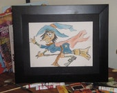 Melda the Witch  -  original mixed media drawing and painting