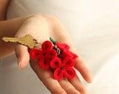 Red Flower Key Chain