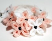 Magnolia, Soft Flower Necklace, Pink Flowers,  White Flowers