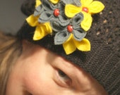 Yellow and Grey Flower Brooch