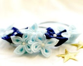 SALE Winter Blues, Flower Necklace