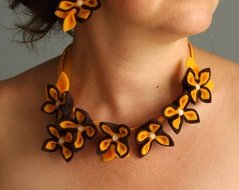 Chocolate Dream, Brown with Yellow Felt Flower Set, Flower Necklace and Earrings
