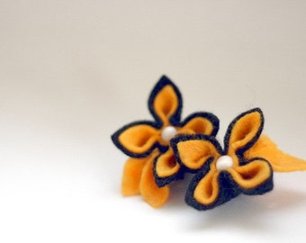 SALE Black with Yellow, Felt Flower Brooch and Earrings
