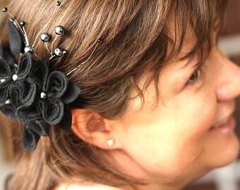 Romantic Black Felt Flower Fascinator