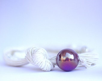 SALE Bluberry Dessert, Ceramic with Linen Necklace