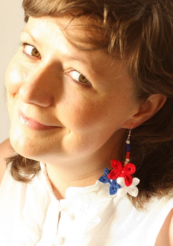 SALE Red White and Blue Flower Earrings
