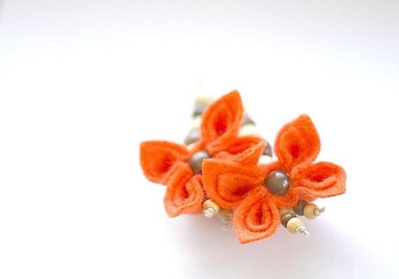 SALE Indian Summer Felt  Flower Earrings