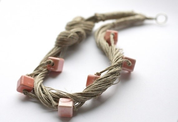 Gentle Touch, Peach Linen Necklace, Ceramic Necklace