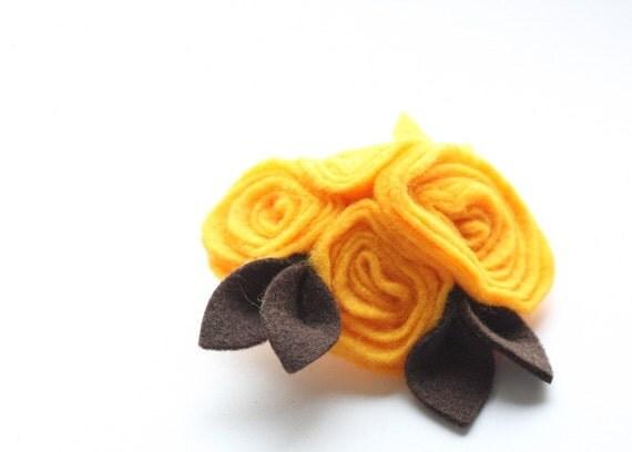 Yellow Roses, Yellow Brooch, Soft Felt Flower Brooch