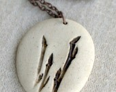 Family of Three - A sweet porcelain pendant with impression of Weeping Cherry.