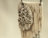 Woodland Tribe - A unique porcelain necklace with lichen.