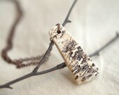 Birch - A unique porcelain pendant, textural, earthy, woodland.