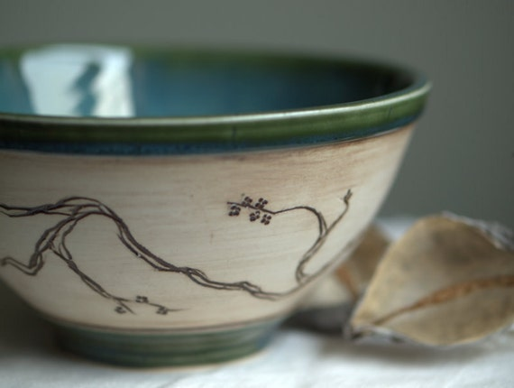 Teal and Cream Serving Bowl with Cherry Blossom Detail