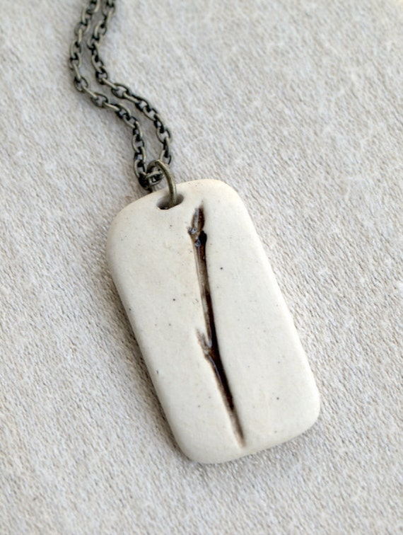 Solitary - A sweet porcelain pendant with impression of Weeping Cherry.