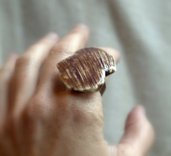 Deep Mauve Textured Porcelain Ring