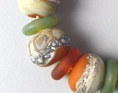 Sage and Rust (23) Handmade Lampwork Glass Beads set etched