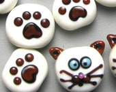 Siamese Cats (10)  tabs handmade lampwork glass paw print beads set ivory and brown
