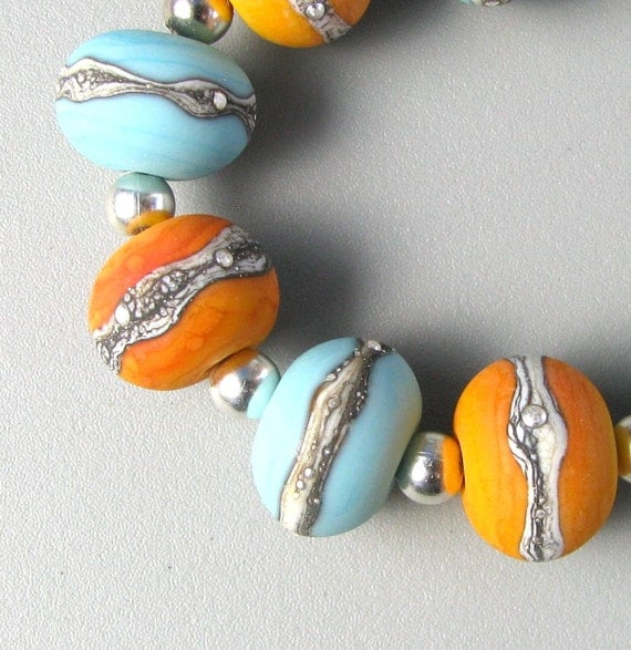 Turquoise and Tequila (9) Handmade Lampwork Glass Beads set etched rounds