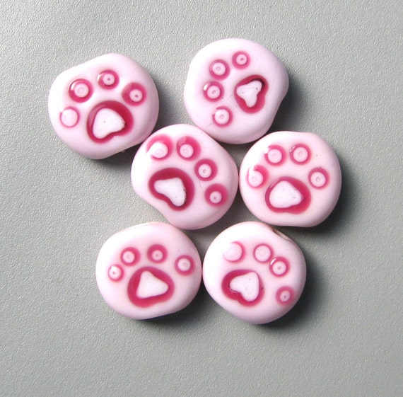 PETAL PAWS little pink tabs handmade lampwork glass paw print beads