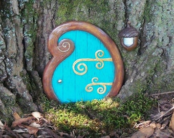 Fairy Door, curlyque blue, Fairy Garden, Spring, FREE SHIPPING, curly,