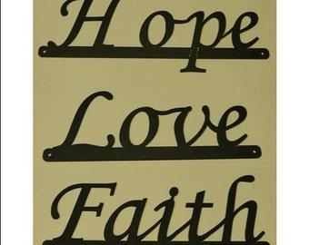 Inspirational Words - Faith, Love, Hope Sign Set